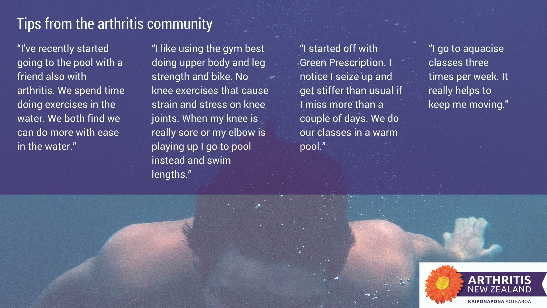 4 - Exercise tips from the Arthritis New Zealand community