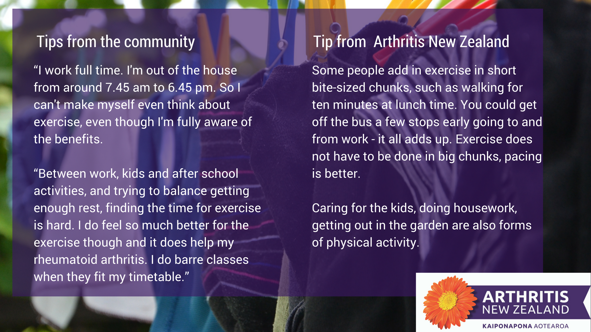 8 - Exercise tips from the Arthritis New Zealand community
